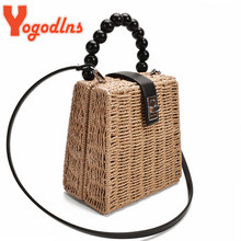 Yogodlns Bead Hand-Woven Straw Bag Women Small Tote Bags For Summer Travel Handle Handbag Box Shoulder Bag Beach Holiday Bags(China)