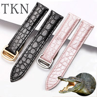TKN Crocodile leather watchband black brown pink wristband for men and women adaptation Cartier Tank SOLO London watch chain
