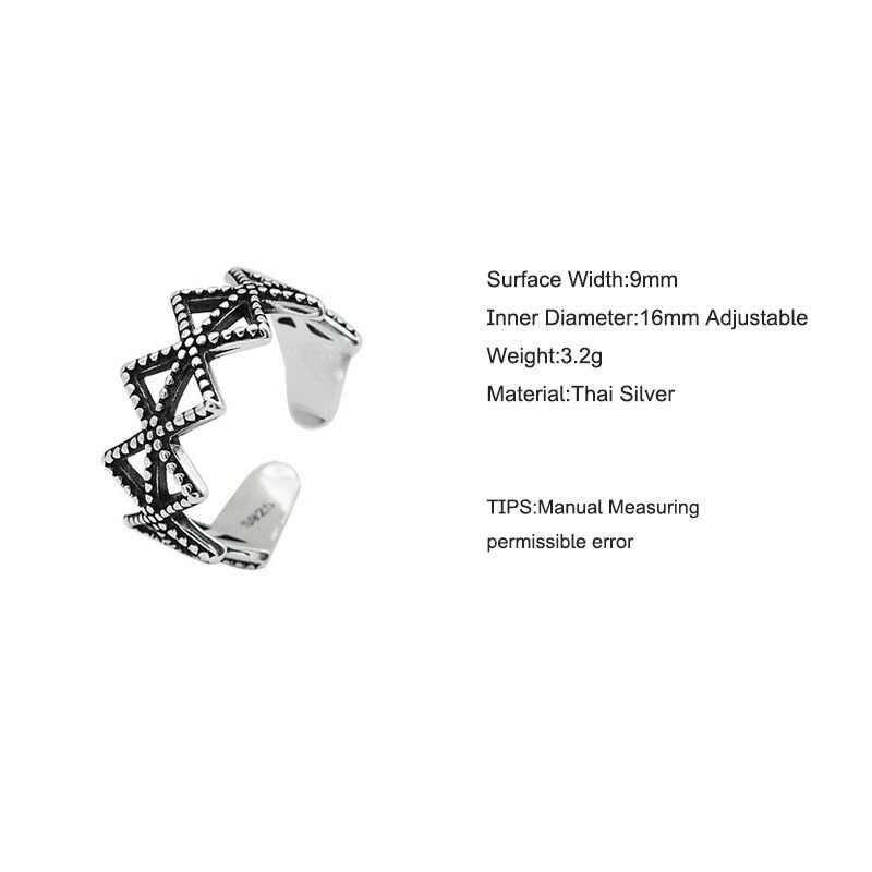 ANENJERY แฟชั่น Hollow สามเหลี่ยมเงินไทยแหวนเงิน 925 เปิดขนาดเครื่องประดับสำหรับของขวัญผู้หญิง S-R553