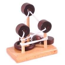 3D Wooden Rope Loop Puzzle IQ Mind String Brain Teaser Game For Kids Desk Toys