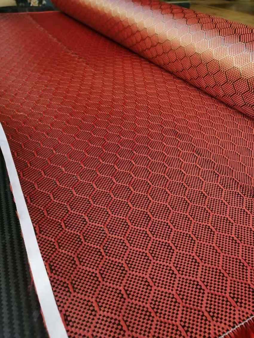 2x2 rouge Football motif réel tissu de Fiber de carbone tissu de carbone 3K 240gsm 40