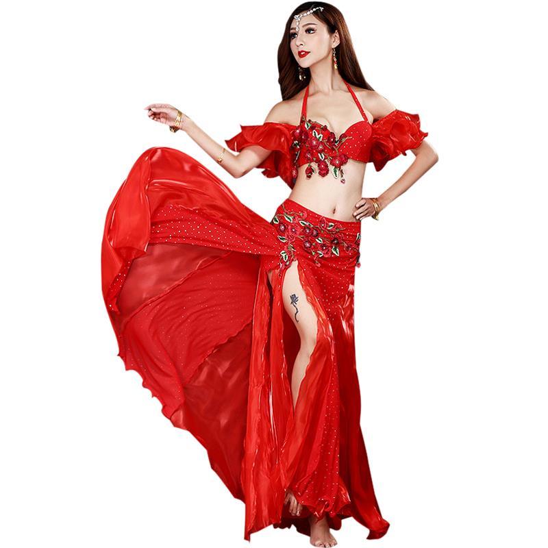 Costumes de danse indienne costume danse du ventre soutien-gorge + jupe perlée scène Performance femme 2020 nouveau printemps été-3 ensembles