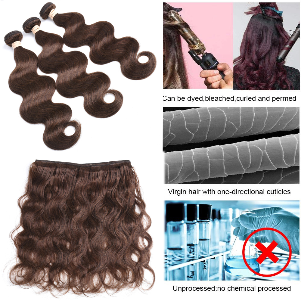 BEAUDIVA Body Wave Bundles #4 Brown Colored  Bundles  Body Wave  Bundles  #2 #4 Hair s 4