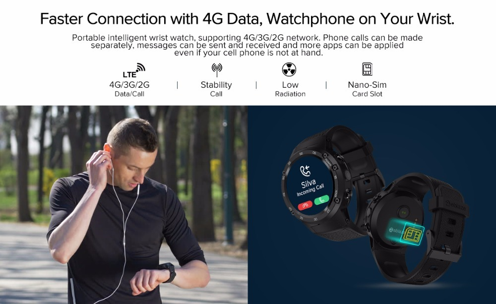 Zeblaze THOR 4 Flagship 4G LTE GPS SmartWatch Android 7.0 MTK6737 Quad Core 1GB+16GB 5.0MP 580mAh 4G/3G/2G Data Call Watch Men - smart-warch, men