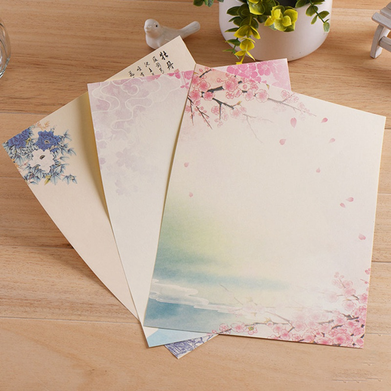 8pcs Cute Retro Office Message Writing Paper Letter Set European Country Style Envelope Letter Paper School Stationery Supplies