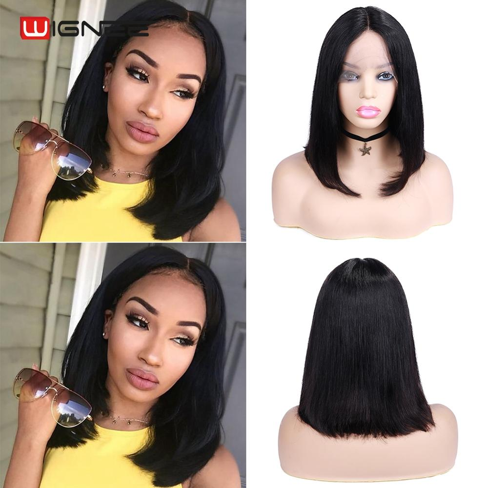 Wignee Short Straight Hair Lace Part Human Wigs For Black/White Women 150% Density Brazilian Remy Glueless Short Human Hair Wig