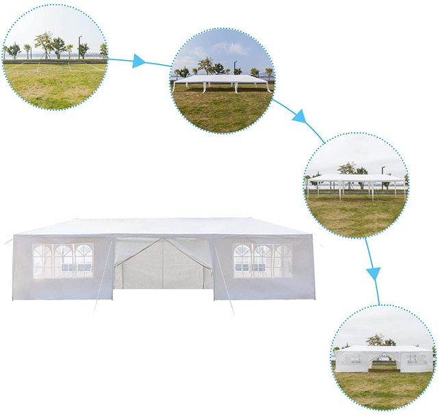 Yonntech 3 x 9m Party Tent Gazebo Marquee with Spiral Tubes Waterproof Outdoor Picnic Canopy