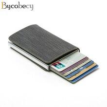 Тонкий кошелек Bycobecy для мужчин и женщин, бумажник с блокировкой радиочастотной идентификации, деловой компактный держатель с Отделом для к...