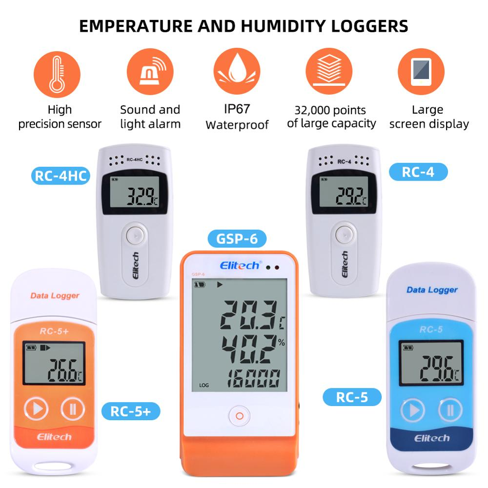 RC-4/4HC/5/5+/GSP-6 Digital USB Temperature Humidity Data Logger Built-in NTC Sensor High Precision Thermometer Data Logger