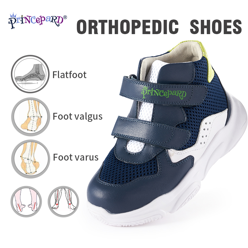 Princepard Orthopedic Shoes Kids Sprots Shoes Spring Autumn White Navy Color Korean Sneakers For Children 19-37 European Size
