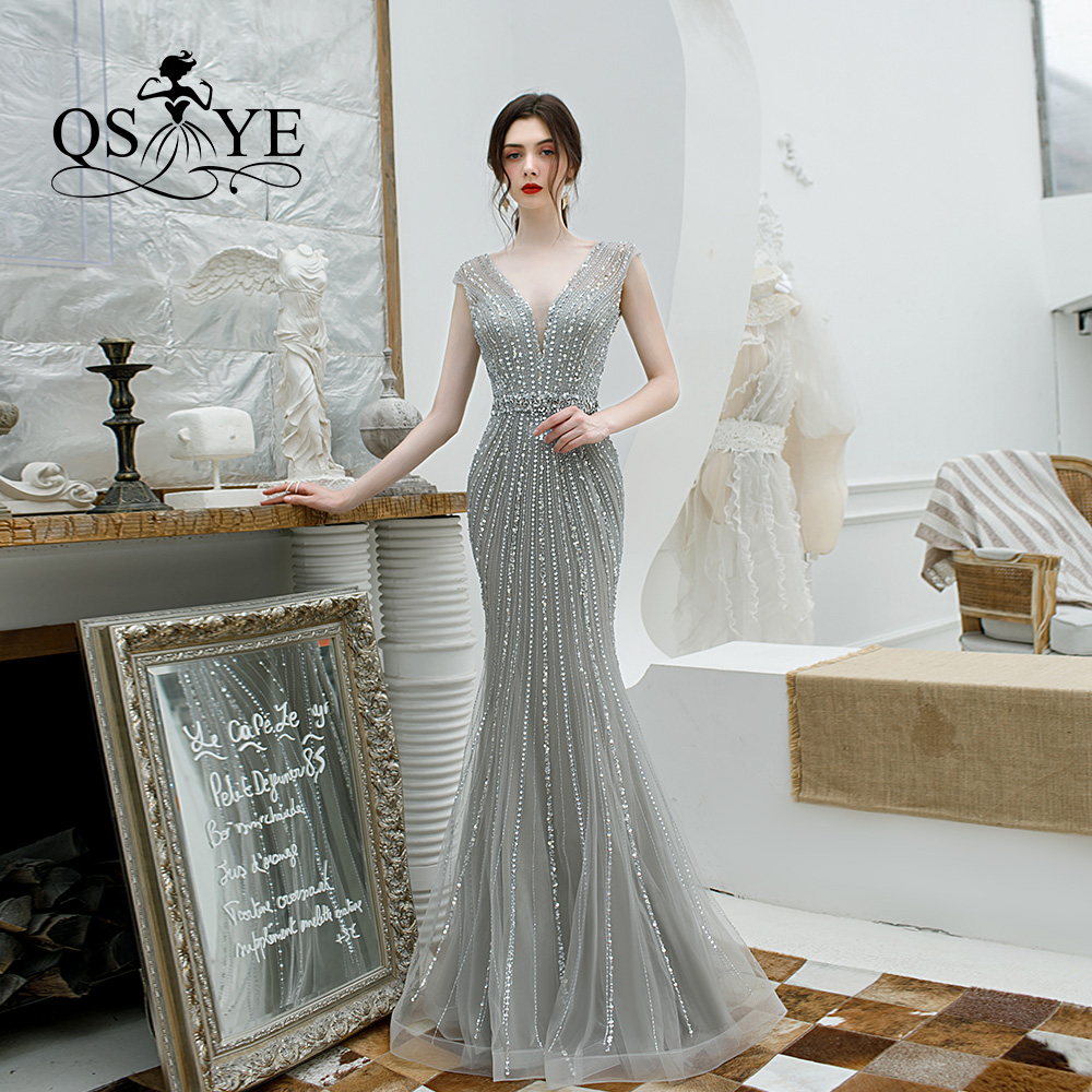QSYYE 2019 Long Prom Dresses Tulle V-neck Trumpet Spaghetti Strap Beading Floor Length Formal Evening Dress Party Gown