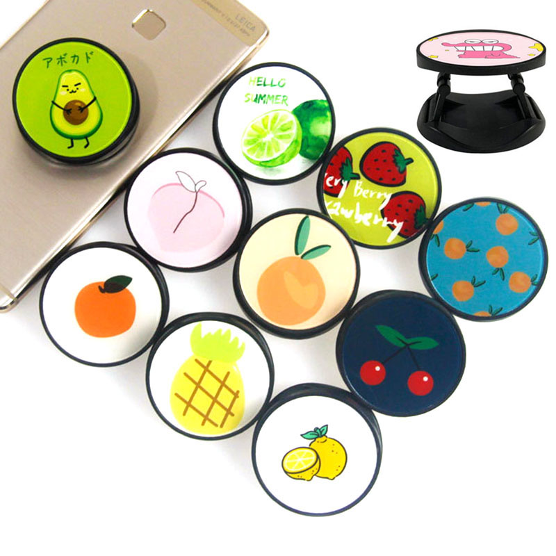 Cute Avocado Fruits  ABS Lazy Expanding Phone Stand And Grip Finger Ring Phone Bracket Foldable Phone Holder For Stand Holder