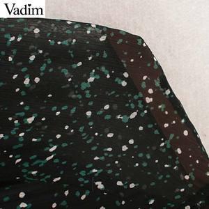 Image 3 - Vadim femmes élégant imprimé robe midi à manches longues taille élastique ceinture conception femme décontracté confortable mi mollet robes vestidos QD149