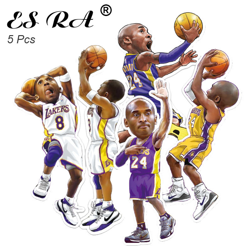 5 Pcs/Set BasketBall Stars Stickers Sport Stickers for B oys Laptop  Luggage Guitar Skateboard Notebook Decorate Waterproof