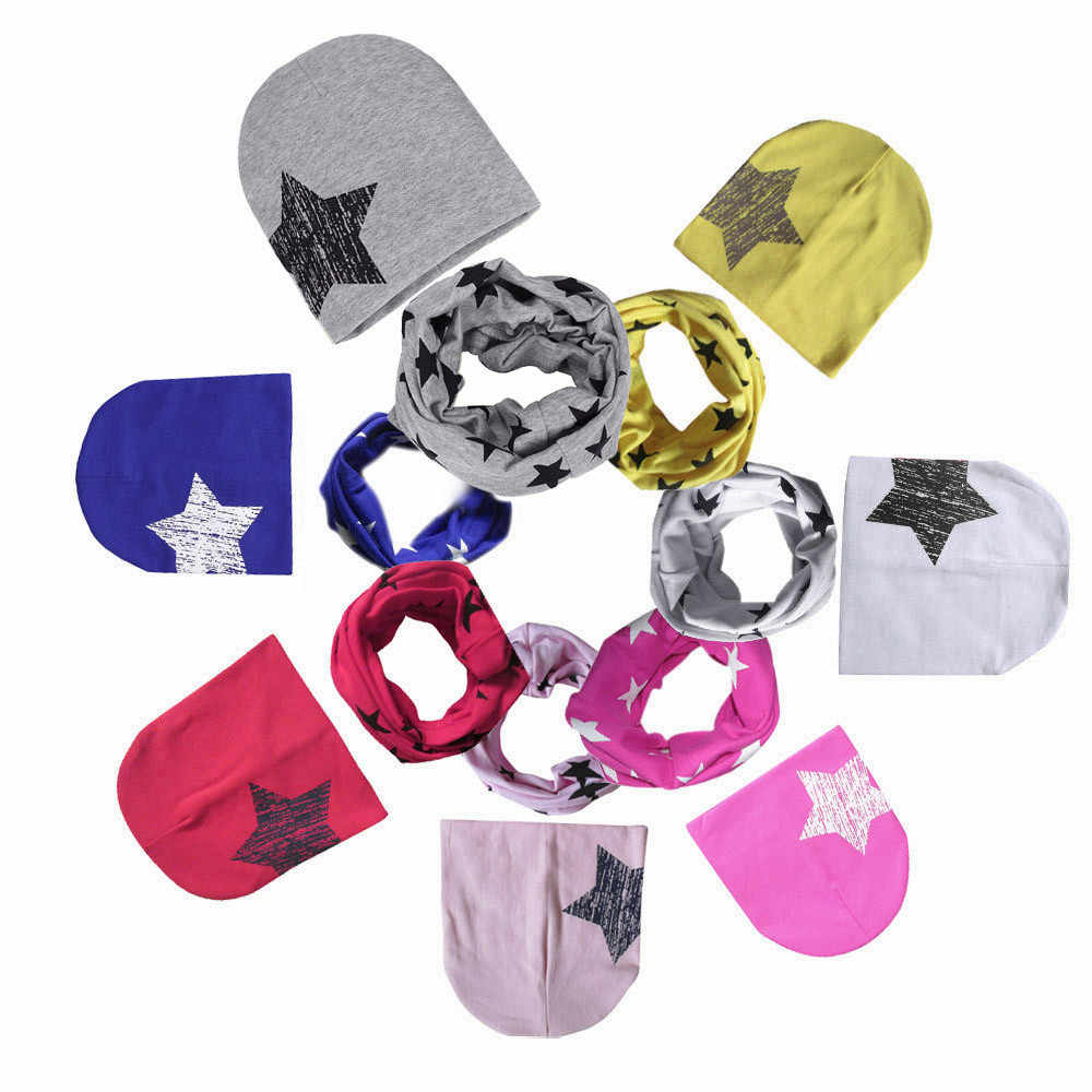 MUQGEW Autumn Winter Baby Hat Scarf Boys Girls Infant Children ScarfCartoon Child Scarf  Hats Caps  floral print stars CN8