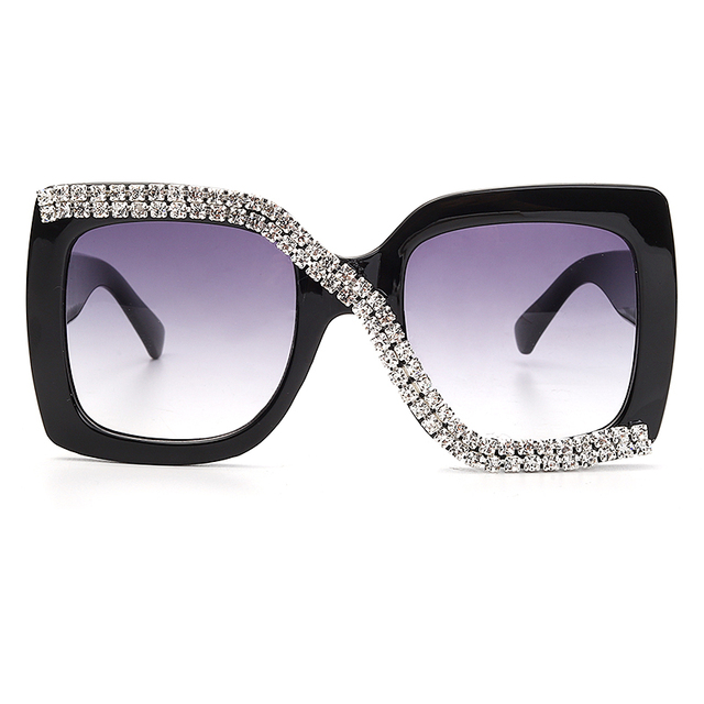 Diamond Square Sunglasses Women 2020 Luxury Vintage Oversized Sunglasses Unique One Piece Rhinestone Glasses Shades gafas de sol 4