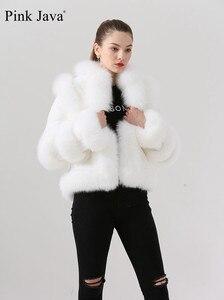 Image 4 - Różowy java QC19044 new arrival hot sprzedaż kobiety zima prawdziwe futro z lisa rex królik futro kurtka czysty biały płaszcz chiński styl