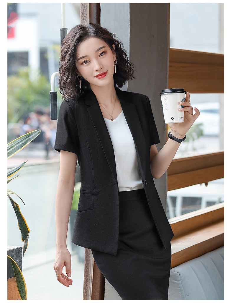 Female Elegant Formal Office Work Wear Summer Black Blazer Women Business Suits with Skirt and Jacket Sets Ladies Clothes Styles