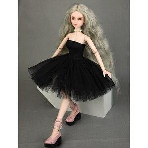 Ręcznie robiona suknia wieczorowa suknia ślubna dla 1/4 BJD Girl Dolls (czarna)