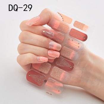 14pcs/sheet Glitter Gradient Color Nail Stickers Nail Wraps Full Cover Nail Polish Sticker DIY Self-Adhesive Nail Art Decoration 100