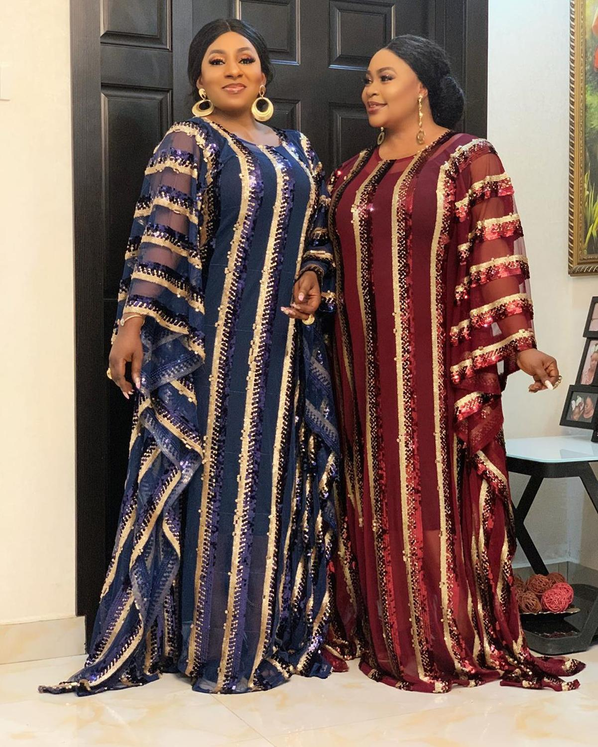 New Style African Women's Dashiki Fashion Sequins Netting Material Free Size Length 154 Cm Loose Long Dress And Inwardly 2 Piece