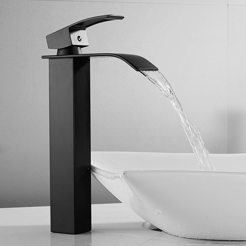 Waterfall Tall Basin Faucet Bathroom Sink Taps Basin Mixer Black Spray Square Mono Faucet Stainless Steel Body Zinc Alloy Handle
