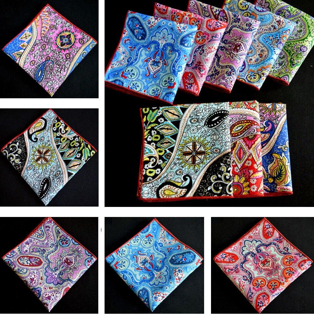 Men Paisley Floral Cotton Handkerchief Hanky Wedding Party Rolled Edge Pocket Square
