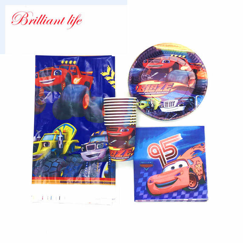 Blaze En De Monster Machines Thema 41/61Pcs Papier Cup Plaat Servet Tafelkleed Kinderen Verjaardagsfeestje Baby Shower servies Supply
