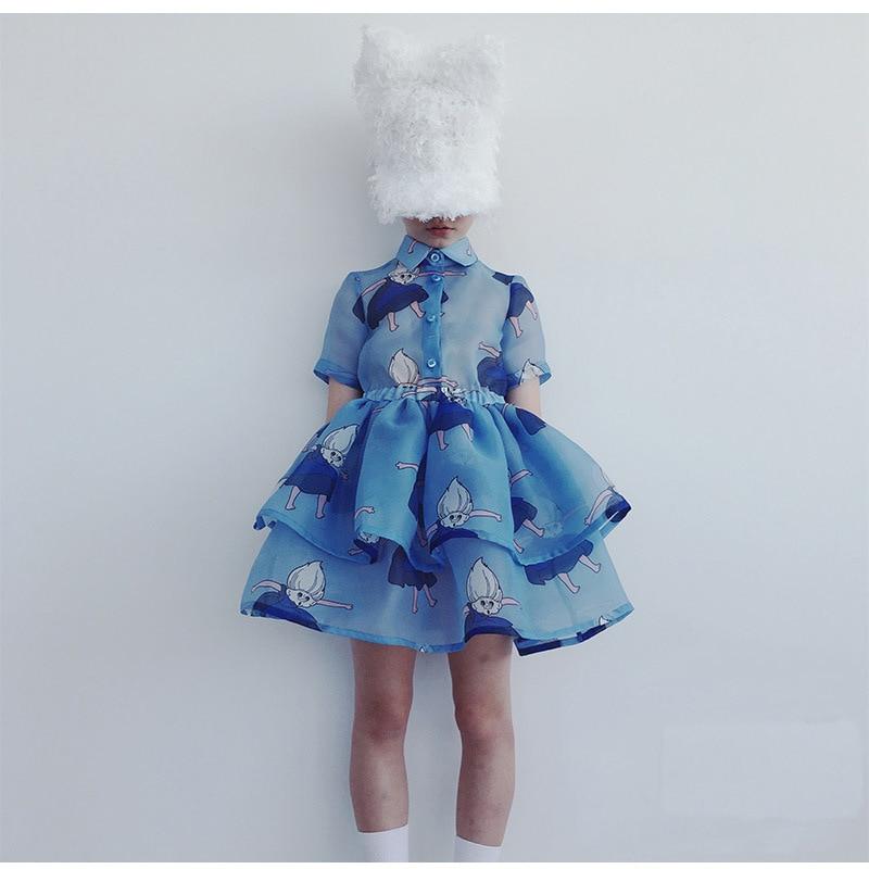 Girls Clothing Sets 2021 Summer Caroline Baby Flower T-shirt Cartoon Tutu Skirts Caps Girl Dress Party Suits Children Clothes 6