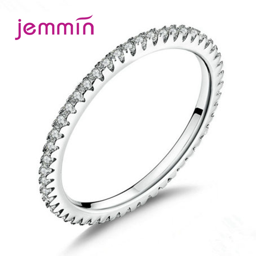 Simple Full Cubic Zircon Inlay Paved Round Circle Ring Fine Jewelry 925 Sterling Silver Brilliant Stackable Finger Accessories