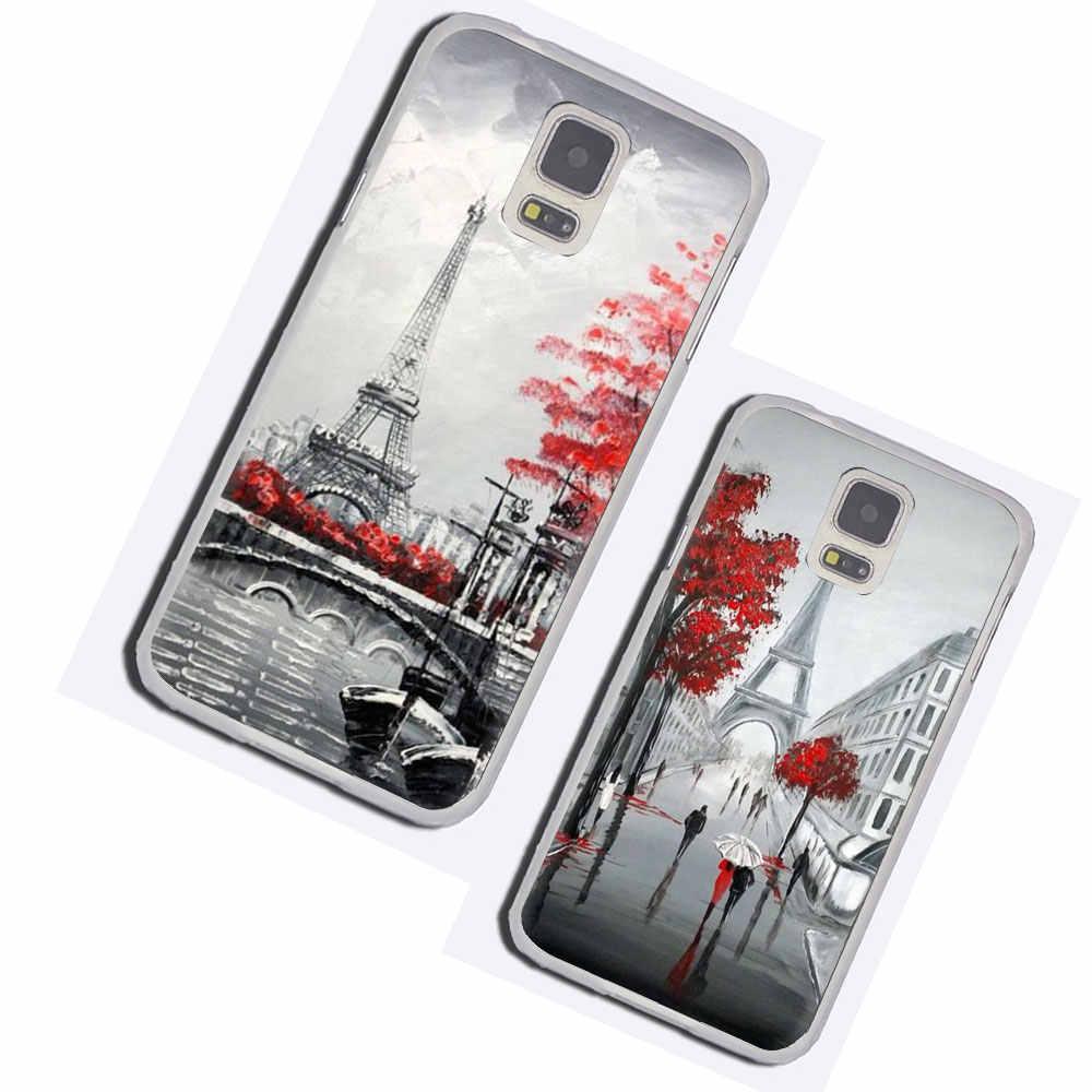 Coque de téléphone en peau dure noir blanc Paris tour Eiffel pour Galaxy M30 M20 M10 S10 S8 S9 Plus S6 S7 Edge NOTE 10 8 9