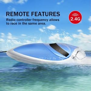 Image 2 - Zdalnie sterowana łódka RC 30 km/h szybka łódź motorowa 4 kanały 2.4GHz sterowanie radiowe H106 statek wioślarstwo zabawki model dla dzieci i dorosłych