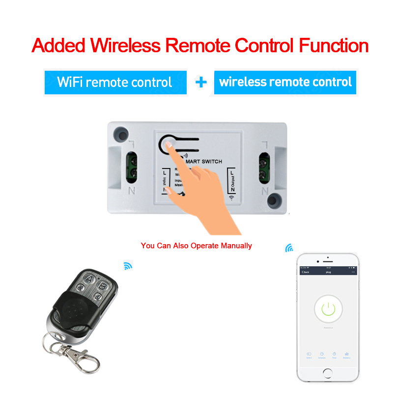 H54debc74b72c48e0b87466acc82ffe995 - QIACHIP WiFi Smart Switch Wireless Remote Control Light Timer Relay Switches AC 110V 220V Home Automation Work With Amazon Alexa
