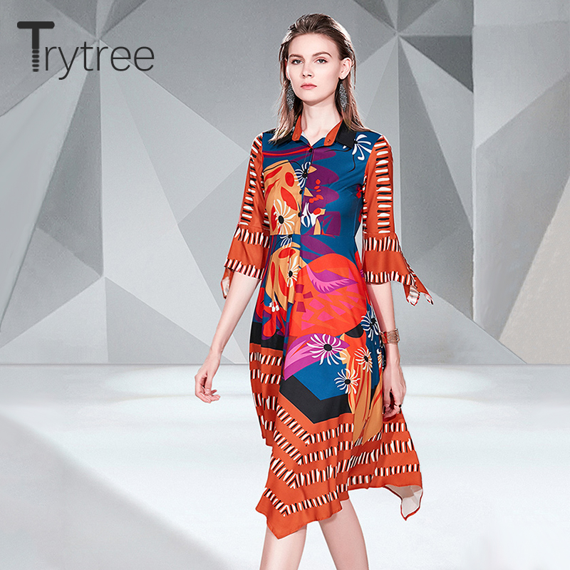 Trytree Autumn Dress women Casual Polyester Button Turn down Collar Flare Sleeve Shirt Dress Asymmetrical Hem Office Lady Dress-in Dresses from Women's Clothing on AliExpress - 11.11_Double 11_Singles' Day 1