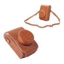 Taşınabilir PU deri kılıf kamera çantası Panasonic DMC LX100 LX100 II LX100M2 sert kabuk kapak omuz askısı ile