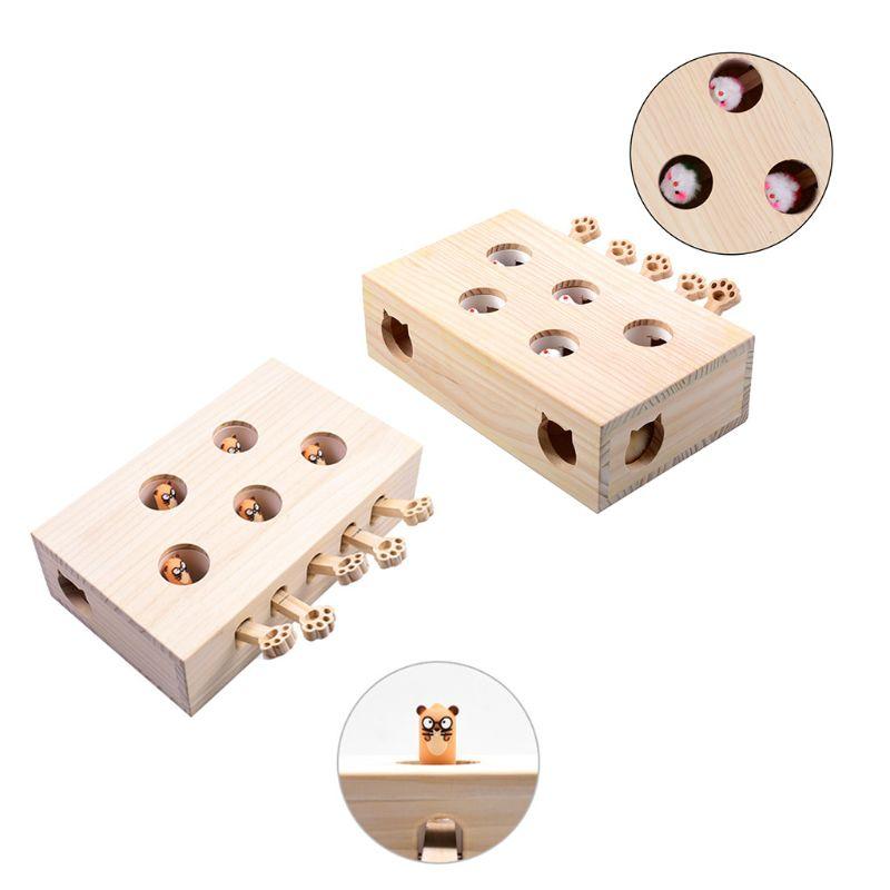 Jouet de chasse de chat de Hamster d'animal familier avec le trou de souris de 5 trous les chats attrapent des jouets interactifs de morsure M76D