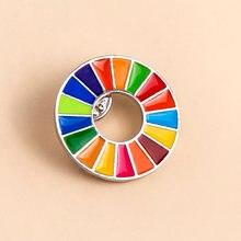 Enamal 17 cores desenvolvimento sustentável metas broche das nações unidas sdgs pino crachá moda arco-íris pinos para mulher