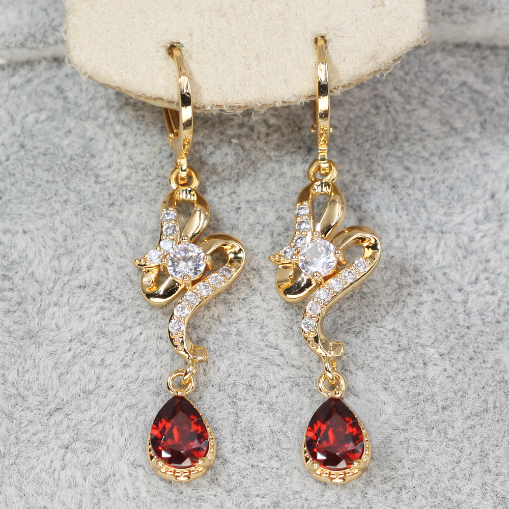 H54df0366ed084110a2ba8263562d947fN - Trendy Vintage Drop Earrings For Women Gold Filled  Red Green Pink Lavender Zircon Earrings Gold  Earring Wedding  Jewelry