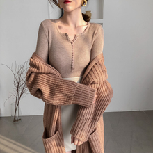 Fall Sweater Women Elegant Knitted 2019 New Button V neck Korean Fitted Style Fit Outfit Fashion Aesthetic Instagram Top