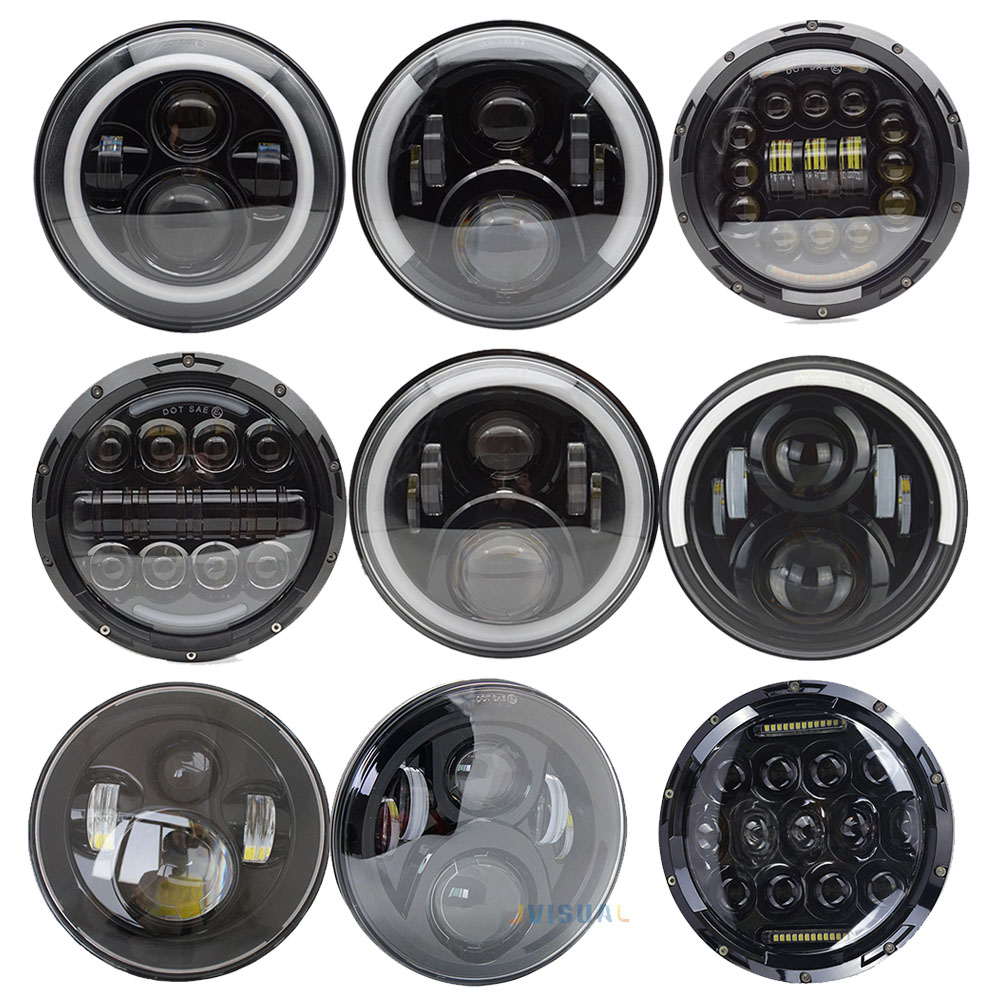 1Pair Running Lights 75W Car Led H4 7inch Car Accessories Angel Eyes H4 Led Headlight For