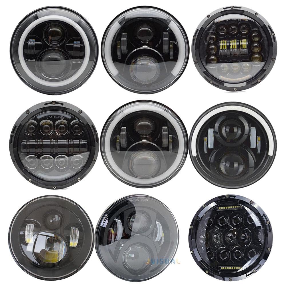 1Pair Running Lights 75W Car Led H4 7inch Car Accessories Angel Eyes H4 Led Headlight For Lada Niva 4X4 Uaz Hunter Hummer Harley