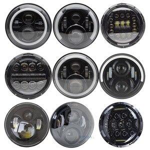 1Pair Running Lights 75W Car Led H4 7inch Car Accessories Angel Eyes H4 Led Headlight For Lada Niva 4X4 Uaz Hunter Hum mer(China)