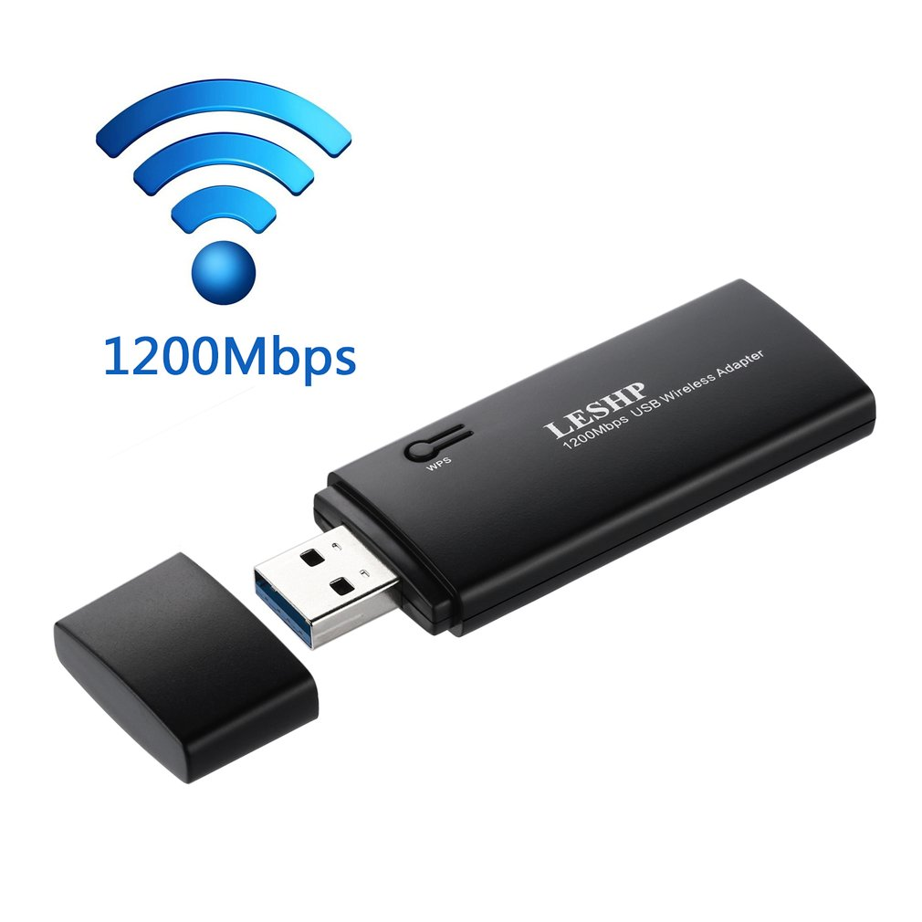 LESHP 1200Mbps 11AC Dual Band USB 3.0 Wireless Wi-Fi Network Adapter Wide Range Compatibility Quick Installation Black