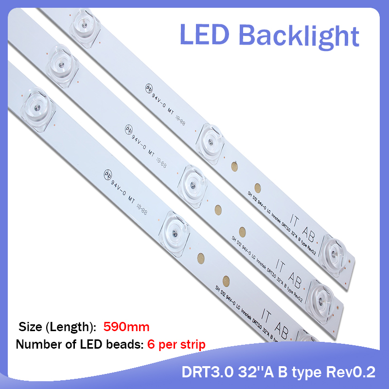 3pcs X TV LED Strips 6-lamps For LG 32 TV 32MB25VQ 6916l-1974A 1975A 1981A Lv320DUE 32LF5800 32LB5610 Innotek Drt 3.0 32