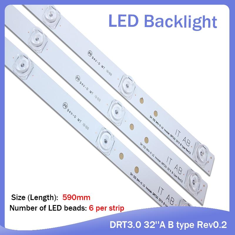 3pcs X TV LED Strips 6-lamps For LG 32 TV 32MB25VQ 6916l-1974A 1975A 1981A Lv320DUE 32LF5800 32LB5610 Innotek Drt 3.0 32
