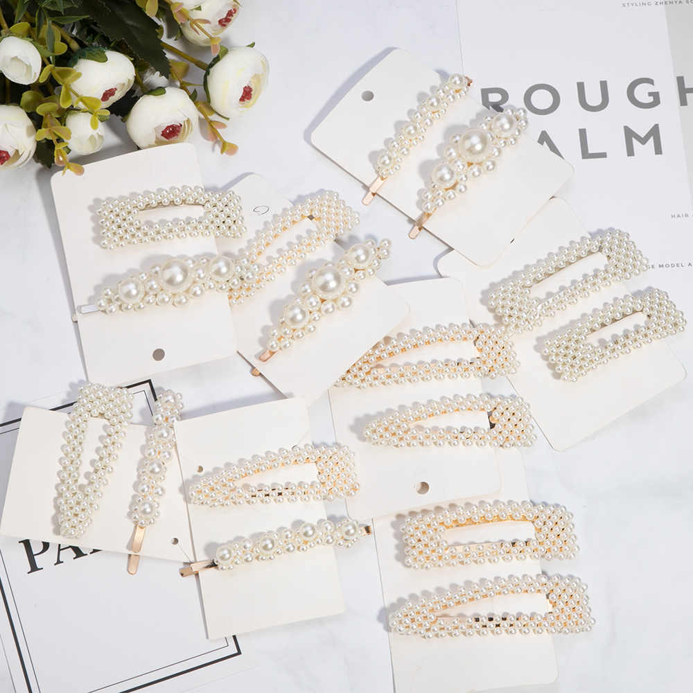 1/2pcs Fashion Pearl Imitation Beads Hair Clip For Women Barrette Handmade Pearl Flower Stick Hairpin Hair Styling Accessories
