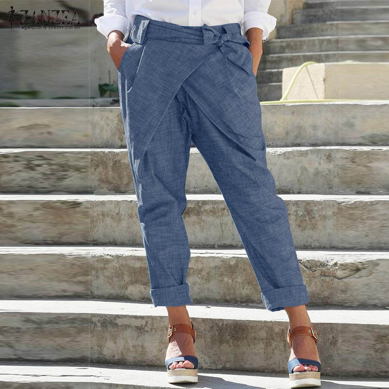 Harem Pants Women's Trousers 2020 ZANZEA Elastic Waist Elegant Casual Casual Pantalon Belted Solid Lace Up Palazzo Oversized 5XL