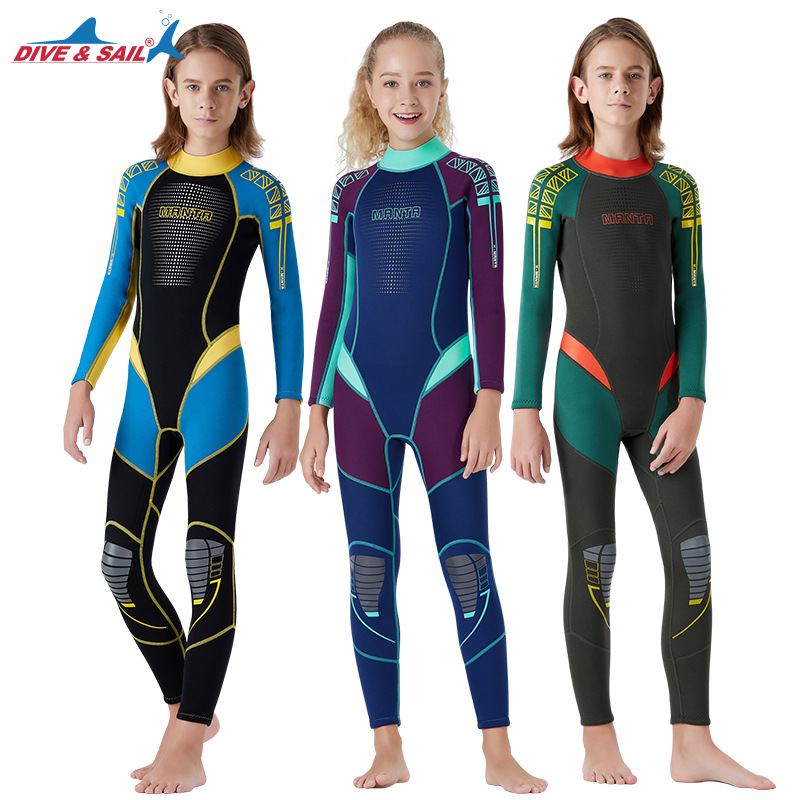 Une pièce jeunesse enfants combinaison 2.5mm néoprène à manches longues jeunesse corps complet maillot de bain plongée sous-marine Surf costume pour garçons filles enfants