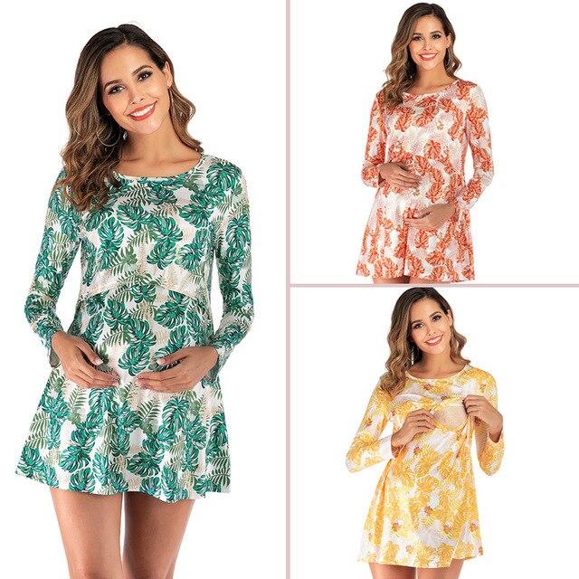Nova chegada manga longa vestido de enfermagem hipster imprimir vestido grávida barco pescoço casual vestido de maternidade amamentação