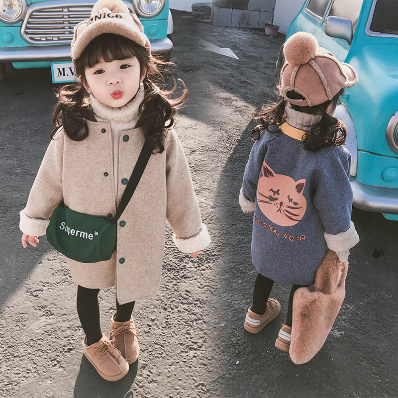 Children Wear Jacket 2019 Autumn And Winter Korean Version Of The Warmth Of The Tide Children Clothing Girls Coat|Wool & Blends| |  - title=